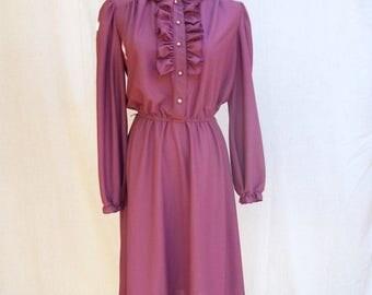SALE 80s Plum Violet Secretary Dress size Medium Ruffled Bodice Jane Baar
