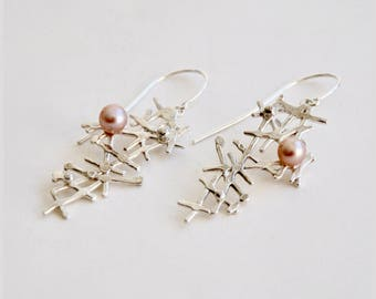 Asymmetric blush pearl silver drop earrings - lace earrings – birthday present – anniversary gift – valentines gift – wedding jewelry