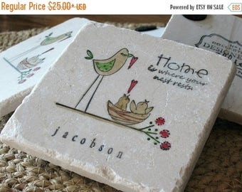 XMASINJULYSale Personalized Birdie Coasters - Love Nest - Housewarming & Hostess Gift - Set of 4