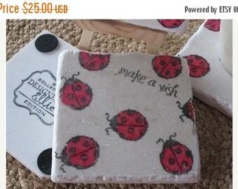 XMASINJULYSale Ladybug Coasters - Ladybug Home Decor - Nature Lover Gift - Set of 4