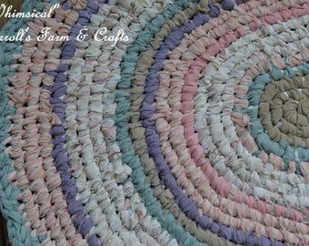 Whimsical - Pretty Pastels - Oval Rag Rug - Toothbrush/Amish-Knot Rug -Upcycled - Cottage Style