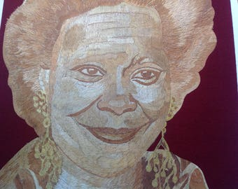 Star of VIEW, Hollywood movie star Whoppie Goldgerg portrait handmade with rice straw.  Unique collectible art. Museum piece. Have U seen it