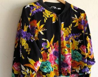 40% OFF CLEARANCE SALE The Vintage Zip Up Black Floral Jacket