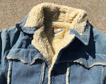 40% OFF The Vintage Blue Weather Caster Sherpa Lined Pocket Jacket