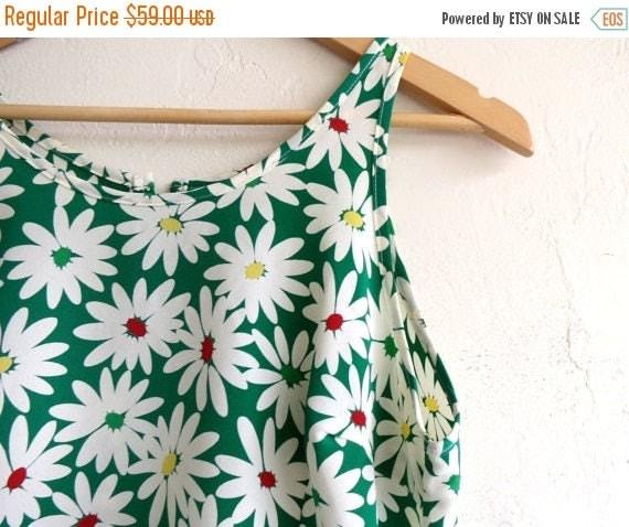 40% SUMMER SALE Green Floral Print Summer Dress