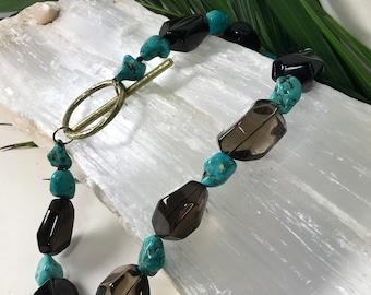 Smoke Quartz  and Turquoise  Necklace