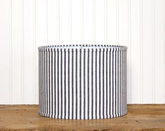 Black and White Ticking Drum Shade - Classic - Farmhouse - Cottage Decor - Stripe Lamp Shade - Table Lamp Shade - Custom - Choose your size!