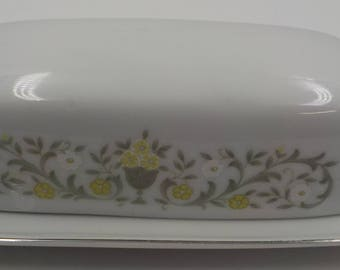Vintage Fine China Covered Butter Dish - Florentine pattern - Made in Japan - Sterling