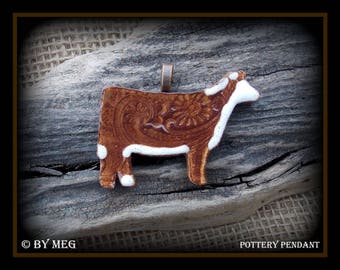 """Hereford Show Heifer Cattle Jewelry, Kiln Fired Earthenware Pottery Ceramic Pendant  2.25"""" Wide"""