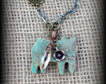 "Show Hog, Pig Jewelry, Livestock Jewelry,  Kiln Fired Pottery Pendant, Bronze Chain Necklace, Approx 23"" (end to end)"