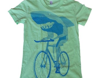 SUMMER SALE Shark on a bicycle - Womens T Shirt, Ladies Tee, Tri Blend Tee, Handmade graphic tee, sizes s-xL