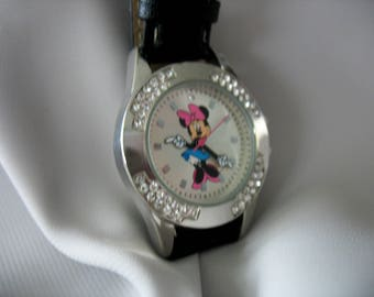 Disney Minnie Mouse Watch, Wrist watch, Womans, Crystal Accents, Articulating arms, Pink Bow, 1990s, Leather Strap, New Battery