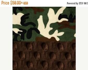 SALE 42 x 55 Minky Baby Blanket //  Camo Green Brown Personalized Baby Blanket Crib size // Camo Baby Blanket