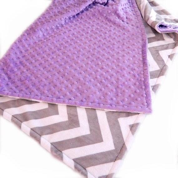 Baby Blanket -  42 x 55 Crib Size Minky Personalized Baby Blanket // Gray Chevron & Lilac Baby Blanket // Crib Blanket // Gray Chevron