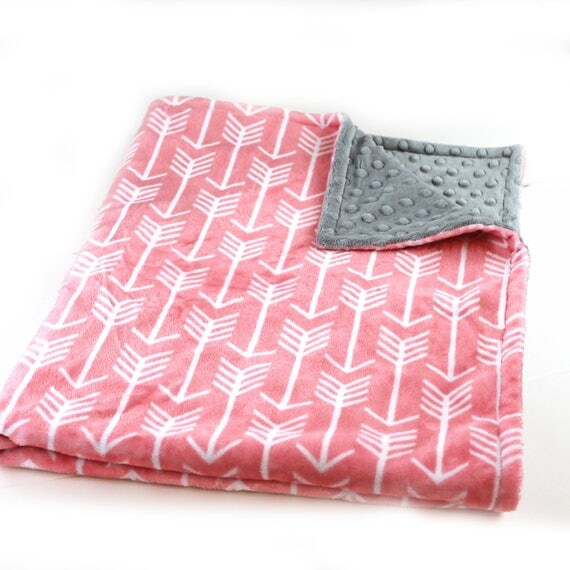 Minky Adult Blanket, Personalized Blanket -  Coral Arrow & Gray Silver Coral Throw - Arrow Blanket // Minky Throw // Large Minky Blanket