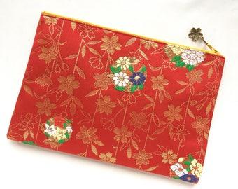 Upcycled Vintage Obi Clutch Bag / Zipper Pouch - Sakura