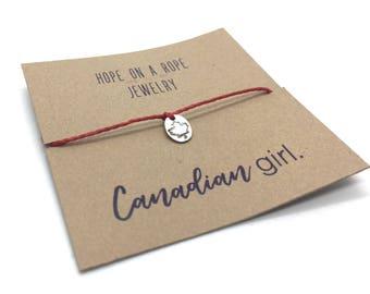 Canada Bracelet - Sterling Silver Canada Bracelet - Canadian Girl Bracelet - Maple Leaf Bracelet - Canada Jewelry - Canadian Pride - Canada