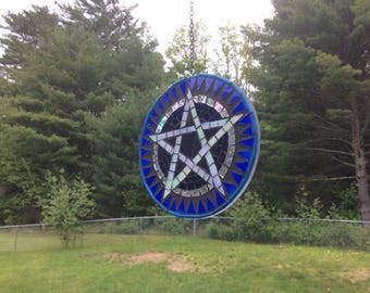 Stained Glass Mosaic Pentagram Suncatcher
