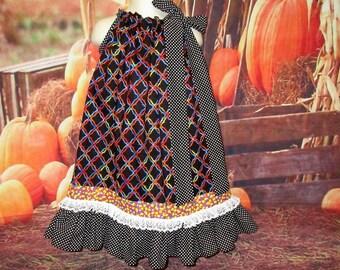 Girls Dress 4T/5 Black Geo Design Candy Corn Pillowcase Dress, Pillow Case Dress, Sundress, Boutique Dress