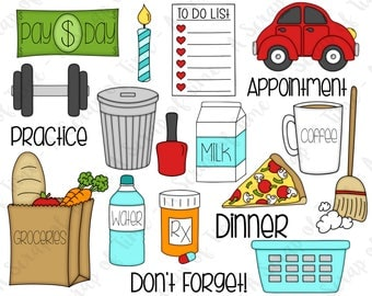 Day to Day Digital Clipart - Set of 19 - Groceries, Laundry, Car, Pizza, Milk, Coffee  - Instant Download - Item#9181