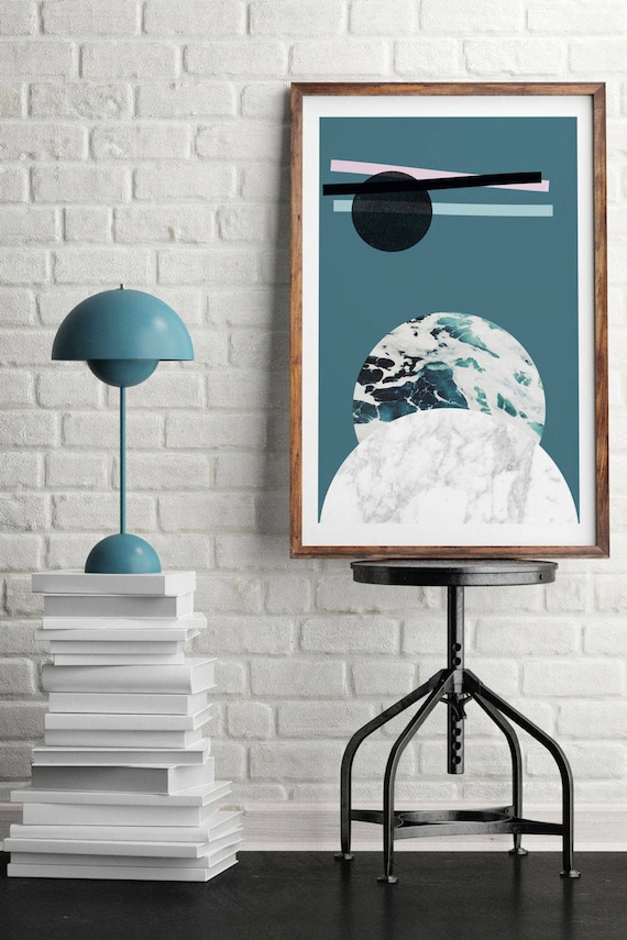 ABSTRACT LANDSCAPE // Mid centuty poster, 18x24, abstract art, minimalist print, scandinavian style, Nordic design, moon, sea, marble, bleu