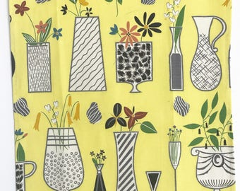 Mid Century Modern, Tea Towel, Cool Ceramic Vases, Flower Pots, Retro Pitchers, Linen Textile, Wall Hanging