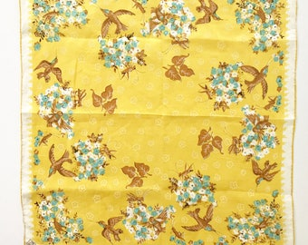 Vintage Handkerchief Birds Grasshoppers Floral Linen Hankie NOS New Old Stock MWT Mint With Tag