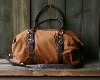 Cotton And Leather/ Or Leather Like Duffle Bag Overnight Bag Cinnamon Color Vintage From Nowvintage on Etsy