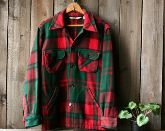 60s Wool Jacket Green and Red Plaid Woolrich Needs Repair Vintage From Nowvintage on Etsy