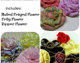 Mixed Fabric Flowers Tutorial 5 ... includes 3 flowers