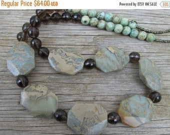 XMAS in JULY SALE Sage Green Smoky Brown Topaz Long Beaded Necklace