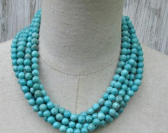 XMAS in JULY SALE Turquoise Multi Strand Necklace, Layered Boho Jewelry Round Beads Collar Choker