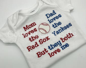 House Divided, red sox, Yankees t shirt, baseball shirt. embroidered shirt, baby gift, sports rivals