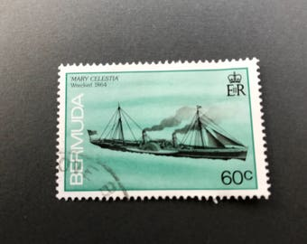 Vintage collectible postage stamp from Bermuda - turquoise with ship