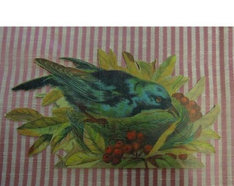 Large Die Cut Crow - Black Bird - Vintage Die Cut Bird In Nest - 3 1/2 x 7 Inches