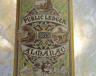 Vintage Almanac, Philadelphia Public Ledger, 1875 Almanac, Original Almanac