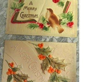 Heavily Embossed Christmas Postcards - FREE Shipping USA