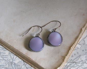 Lavender Glass Earrings  Vintage Button Jewelry