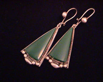 Vintage Mexico ACE Sterling Green Stone Long Triangle Modernist Earrings