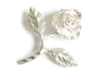 Sterling Rose Charm Bright Cut Brite Cut Vintage