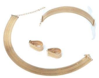 Gold Mesh Woven Necklace Bracelet Earrings Set Parure Vintage