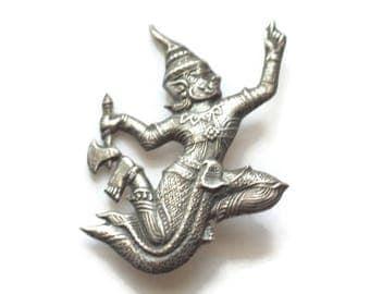 Siam Sterling Brooch God of Thunder Ramasoon Dancer Vintage