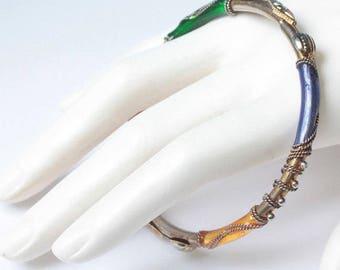 Multi Color Bangle Bracelet Twisted Wire Accent Boho Vintage