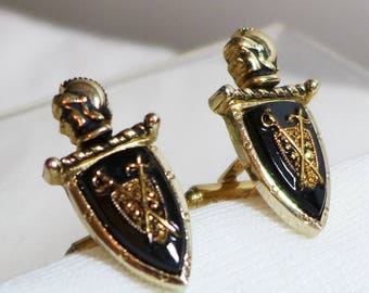 Vintage Cuff Links Cufflinks Knight Shield Stone Gold Black Swords Royal