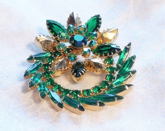 Juliana D&E Green Brooch Rhinestone AB  Emerald Green Gold  1950s 50s