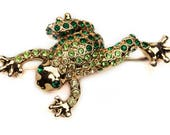 1980s MONET Gold Tone Speckled Green & White Rhinestone Mid Century Leaping Frog Toad Frogger Vintage Figural Pin Brooch