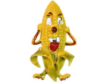 1950s 1960s Novelty Yellow Enamel Taunting Tongue Laughing Corn on the Cob Vintage Figural Vegetable Pin Brooch