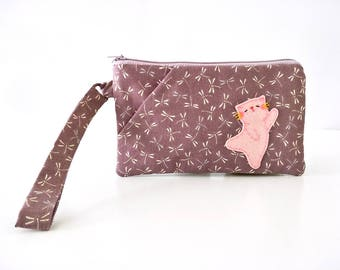 iPhone 6s Plus wristlet clutch purse wristlet wallet phone pouch wristlet zipper bag cute cat wristlet women wristlet purse maroon clutch