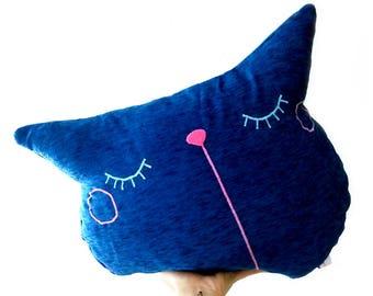blue cat pillow, throw pillow, decorative, sofa pillow, cat cushion, sleepy kitty, couch pillow, pet pillow, boyfriend gift, pillow