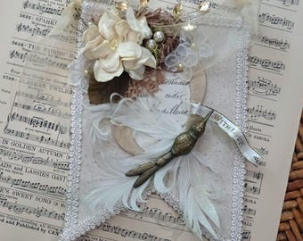 WITH LOVE - Fabric and Lace Altered Canvas  Mini Banner - bird and nest - NO37